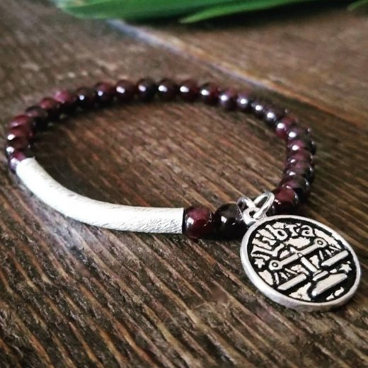 Garnet Bracelet With Libra Charm