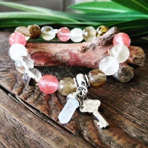 watermelon quartz charm bracelet