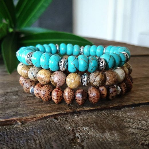 Bodhi and Picture Jasper and Turquoise Howlite Custom Bracelet
