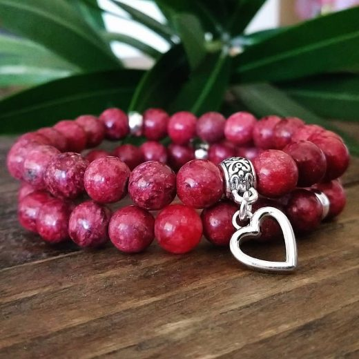 Red Plum Agate with Heart Charm Bracelet