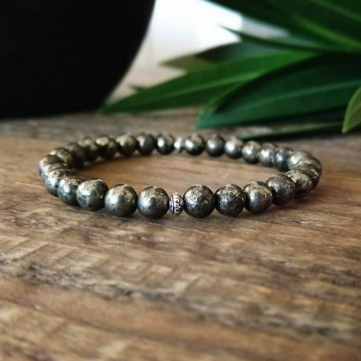 pyrite beaded bracelet