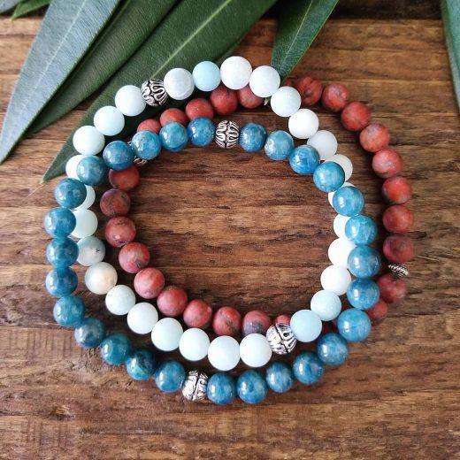 Apatite, Amazonite & Red Jasper Bracelet Set