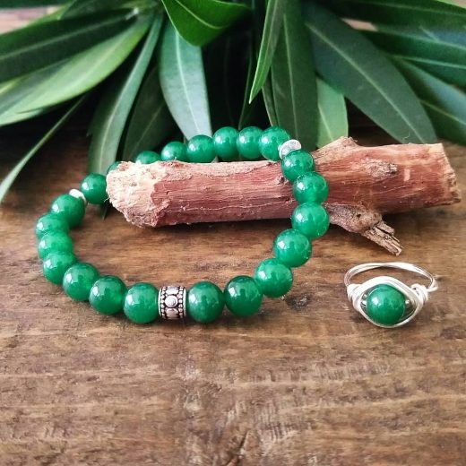 aventurine gemstone bracelet and ring set