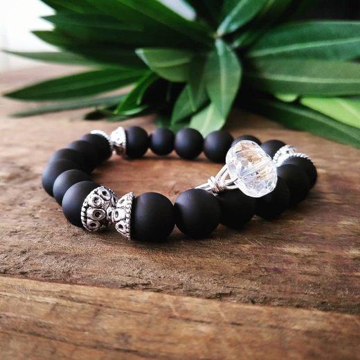 matte black glass crystal ring set