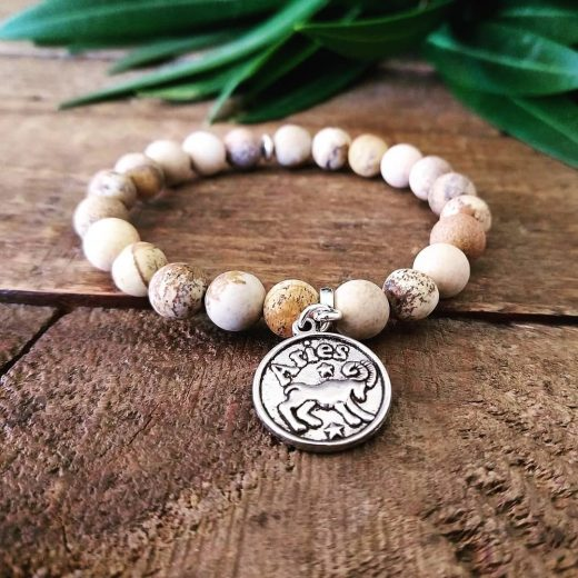 picture jasper with aries charm bracelet