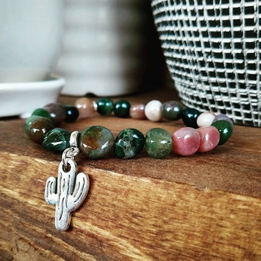 Indian Agate Beaded Bracelet With Cactus Charm
