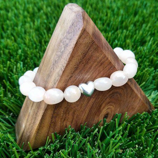 Sweet Sunstone Beaded Bracelet With Heart