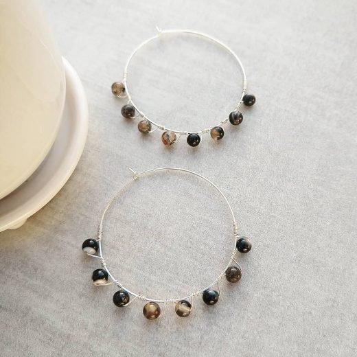 Black Agate Sterling Silver Earrings
