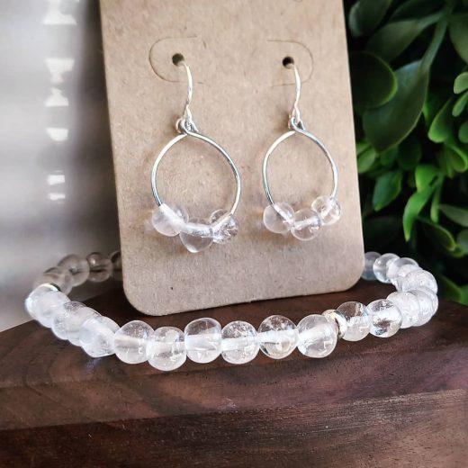 Clear Quartz Bracelet and Sterling Silver Earrings