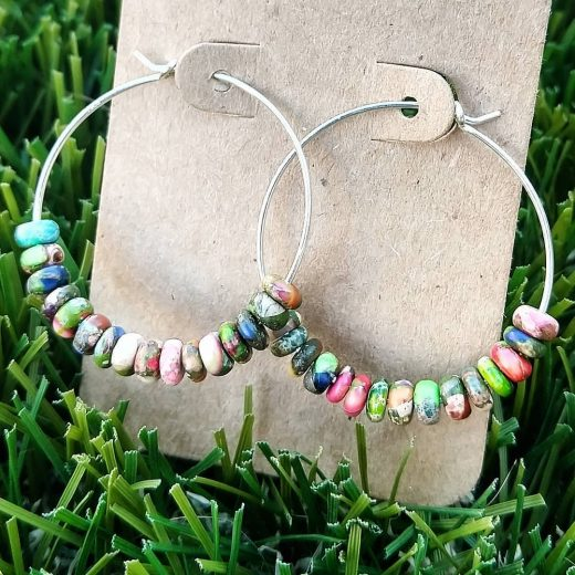 Colorful Imperial Jasper Sterling Silver Earrings