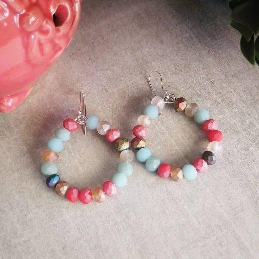 Glass Bead Sterling Silver Earrings