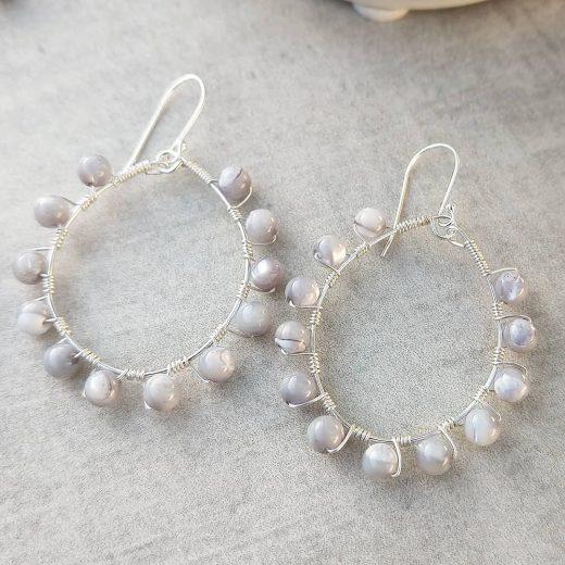 Grey Cats Eye Sterling Silver Earrings