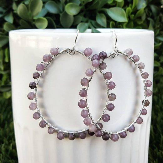 Lilac Stone Sterling Silver Earrings