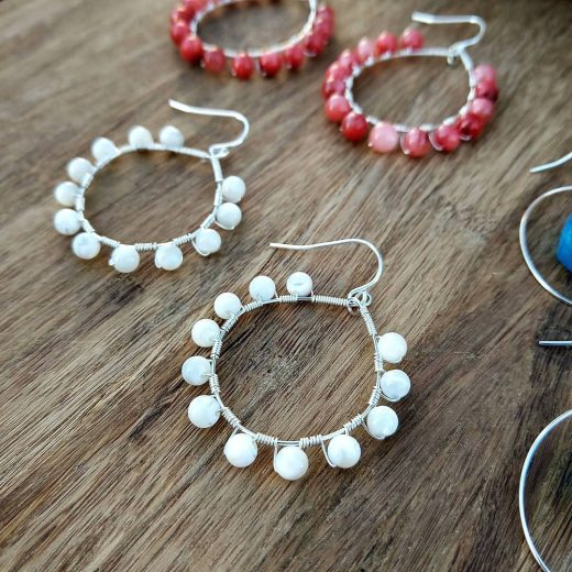 White Mother of Pearl Sterling Silver Earrings