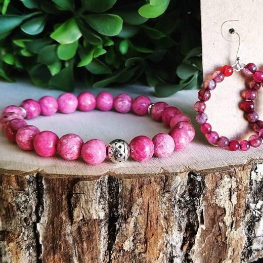 pink agate bracelet and earrings