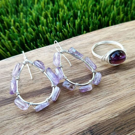 Amethyst Sterling Silver Earrings and Wire-Wrapped Ring