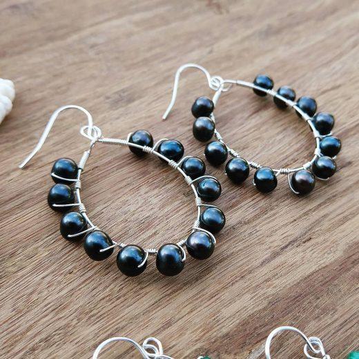 Black Fresh Water Pearl Sterling Silver Earrings