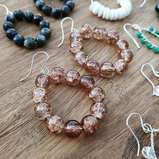Copper Glass Sterling Silver Earrings