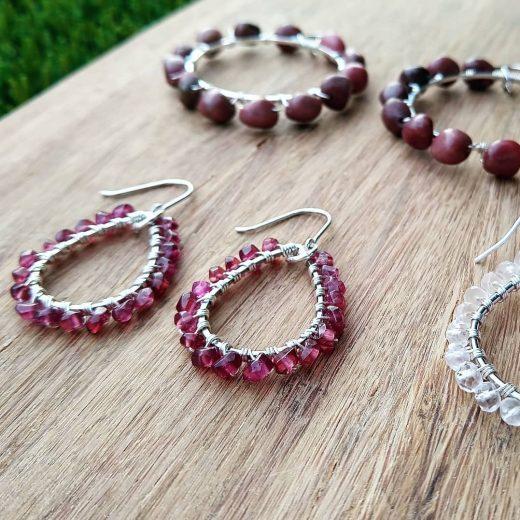 Garnet Sterling Silver Earrings