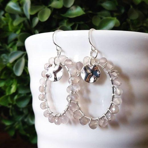 Grey Agate Sterling Silver Earrings