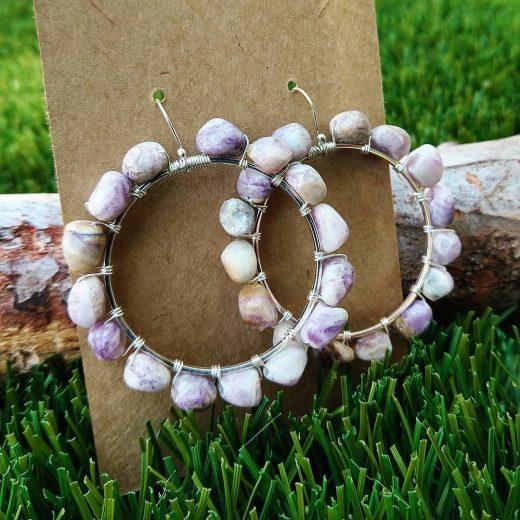 Lavender Jade Sterling Silver Earrings