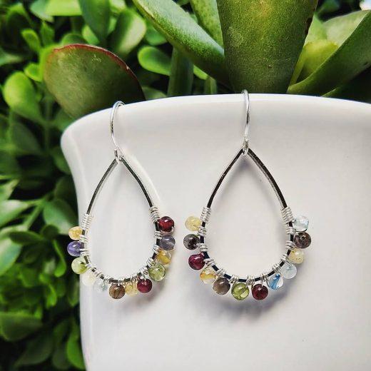 Mixed Gemstone Sterling Silver Earrings