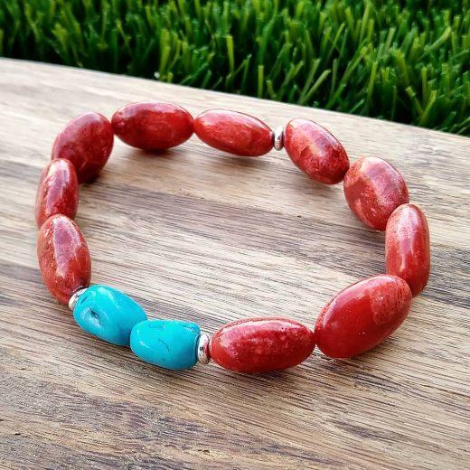 Red Jasper and Turquoise Magnesite Bracelet