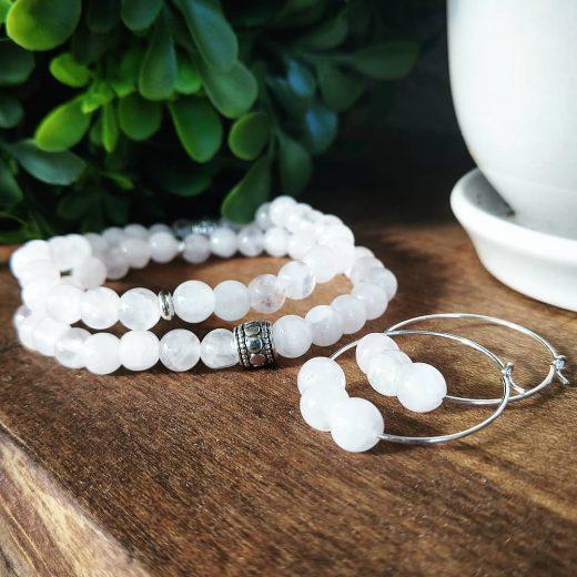 Snow Quartz Bracelets and Sterling Silver Earrings