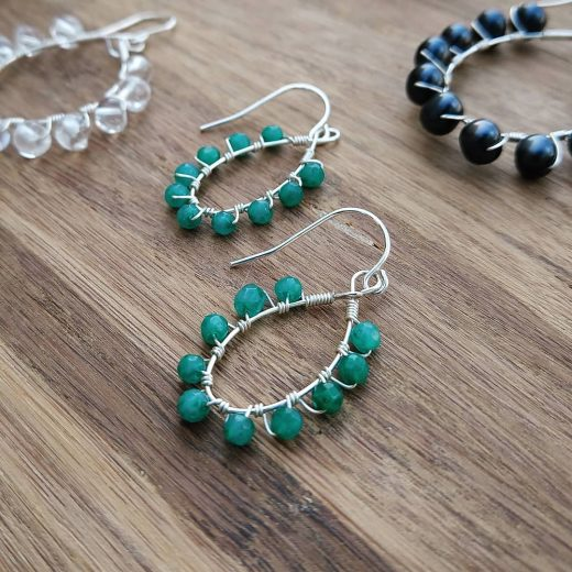 Teal Agate Sterling Silver Earrings