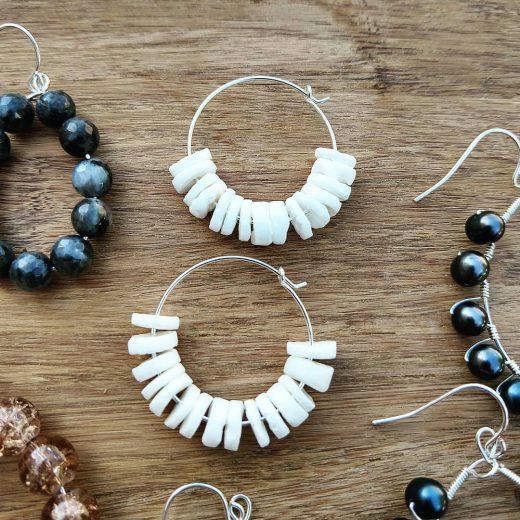 White Shell Sterling Silver Earrings