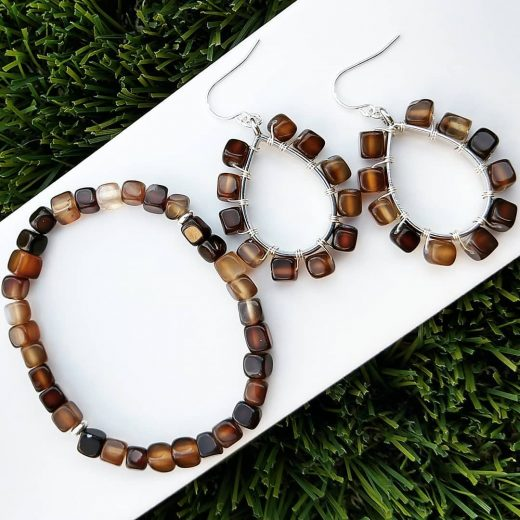 Agate Cubes Bracelet and Sterling Silver Earrings