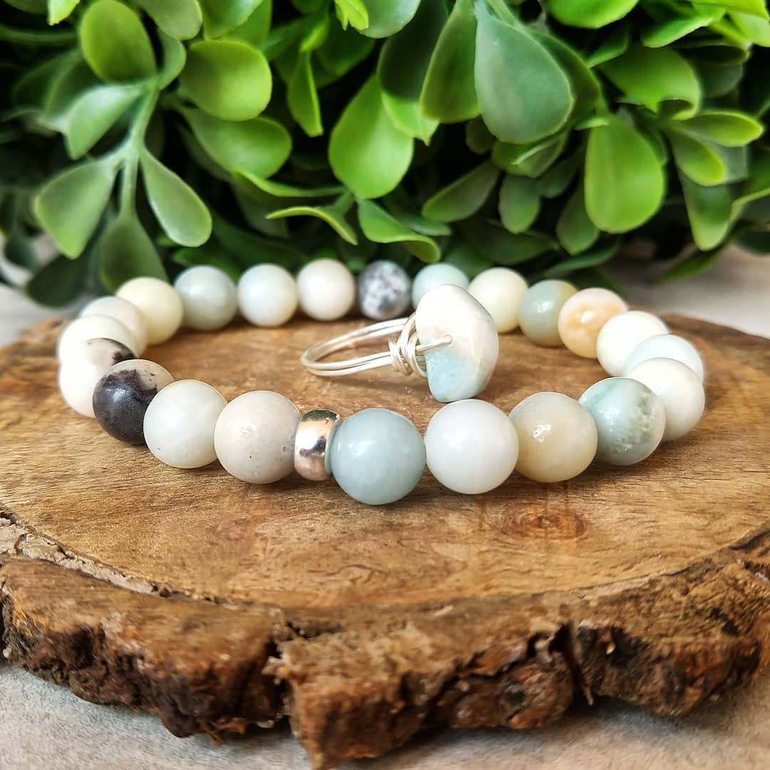 Amazonite Bracelet With Wire-Wrapped Ring