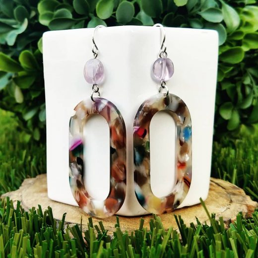 Amethyst with Acetate Sterling Silver Earrings