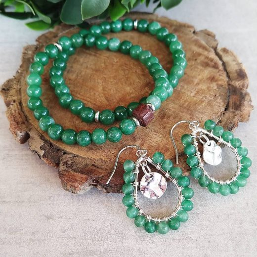 Green Aventurine Bracelets With Sterling Silver Earrings