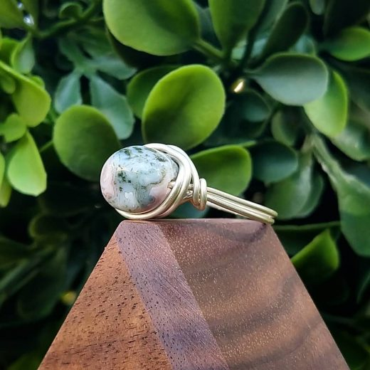 Indian Agate Wire-Wrapped Ring