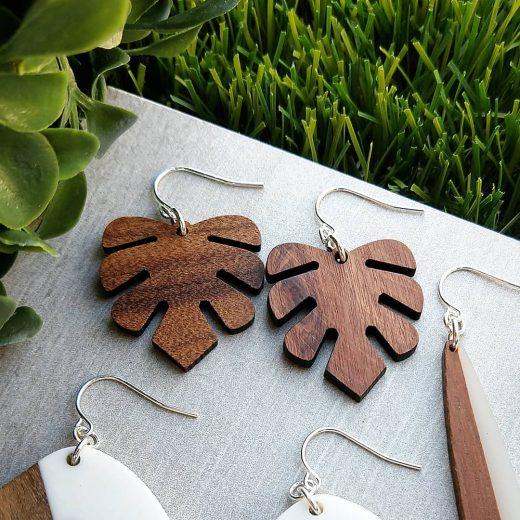Monstera Leaf Wood Sterling Silver Earrings