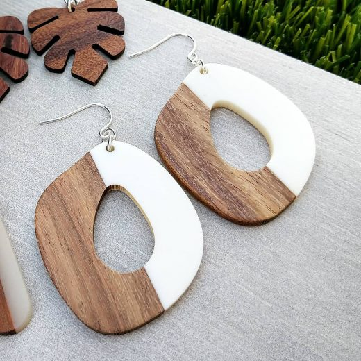 Rounded Quadrangle White & Wood Sterling Silver Earrings