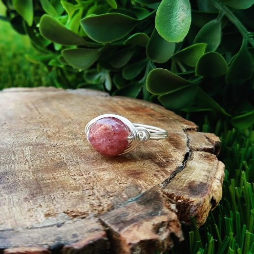 Strawberry Quartz Wire-Wrapped Ring