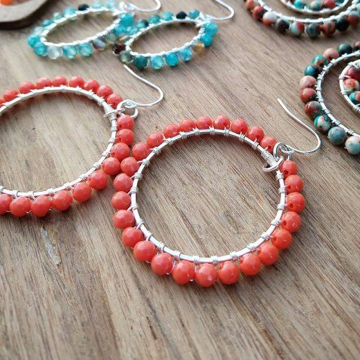 Tangerine Jade Sterling Silver Earrings