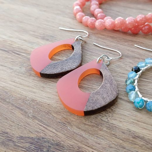 Tangerine and Wood Sterling Silver Earrings