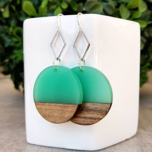 Teal & Wood Sterling Silver Earrings