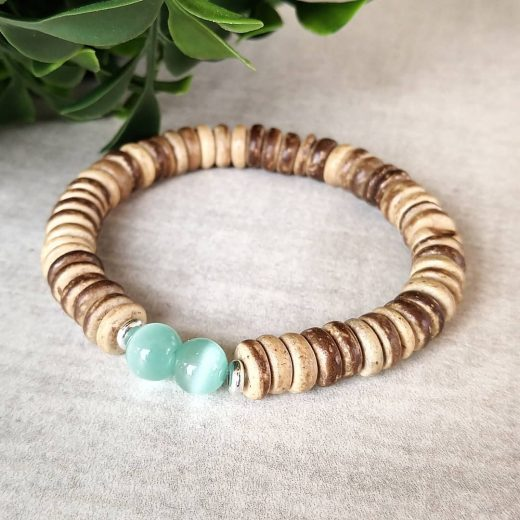 Wood With Aqua Cateye Bracelet