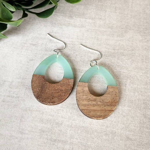 Wood With Aqua Sterling Silver Earrings