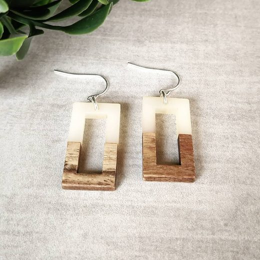 Wood With Cream Rectangle Sterling Silver Earrings
