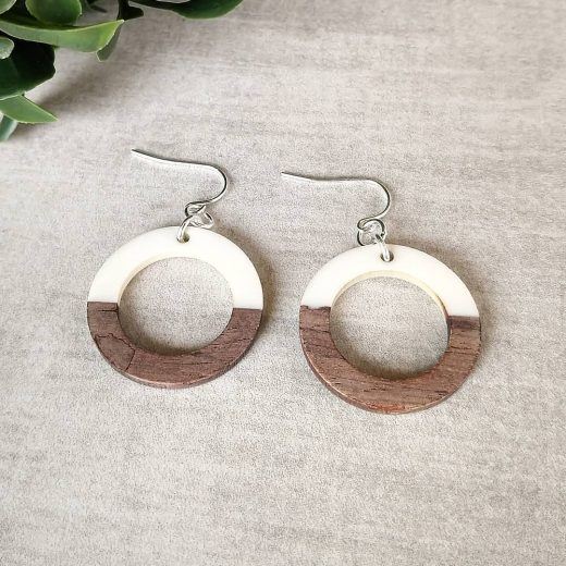 Wood With Cream Sterling Silver Earrings