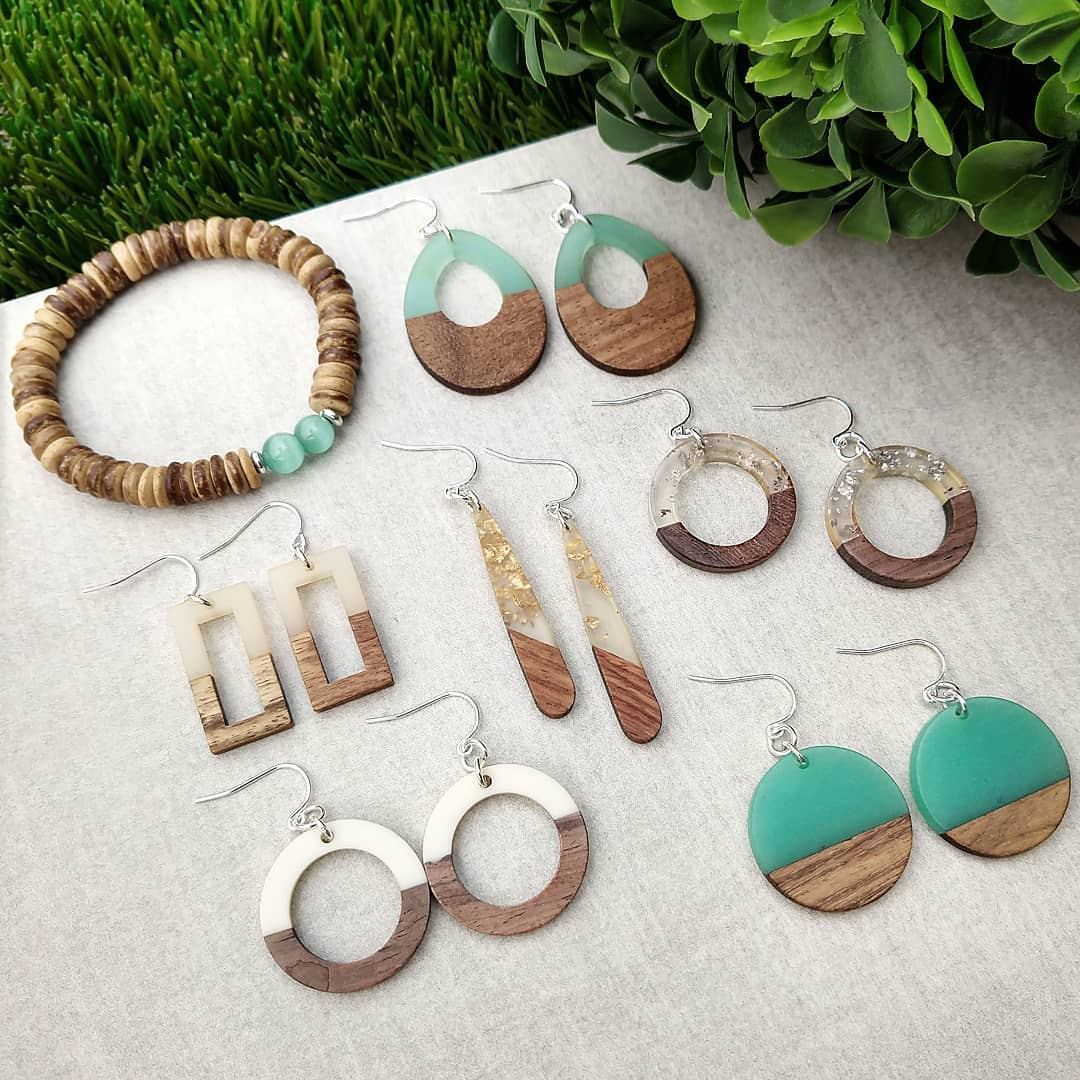 Wood With Gold Foil Sterling Silver Earrings