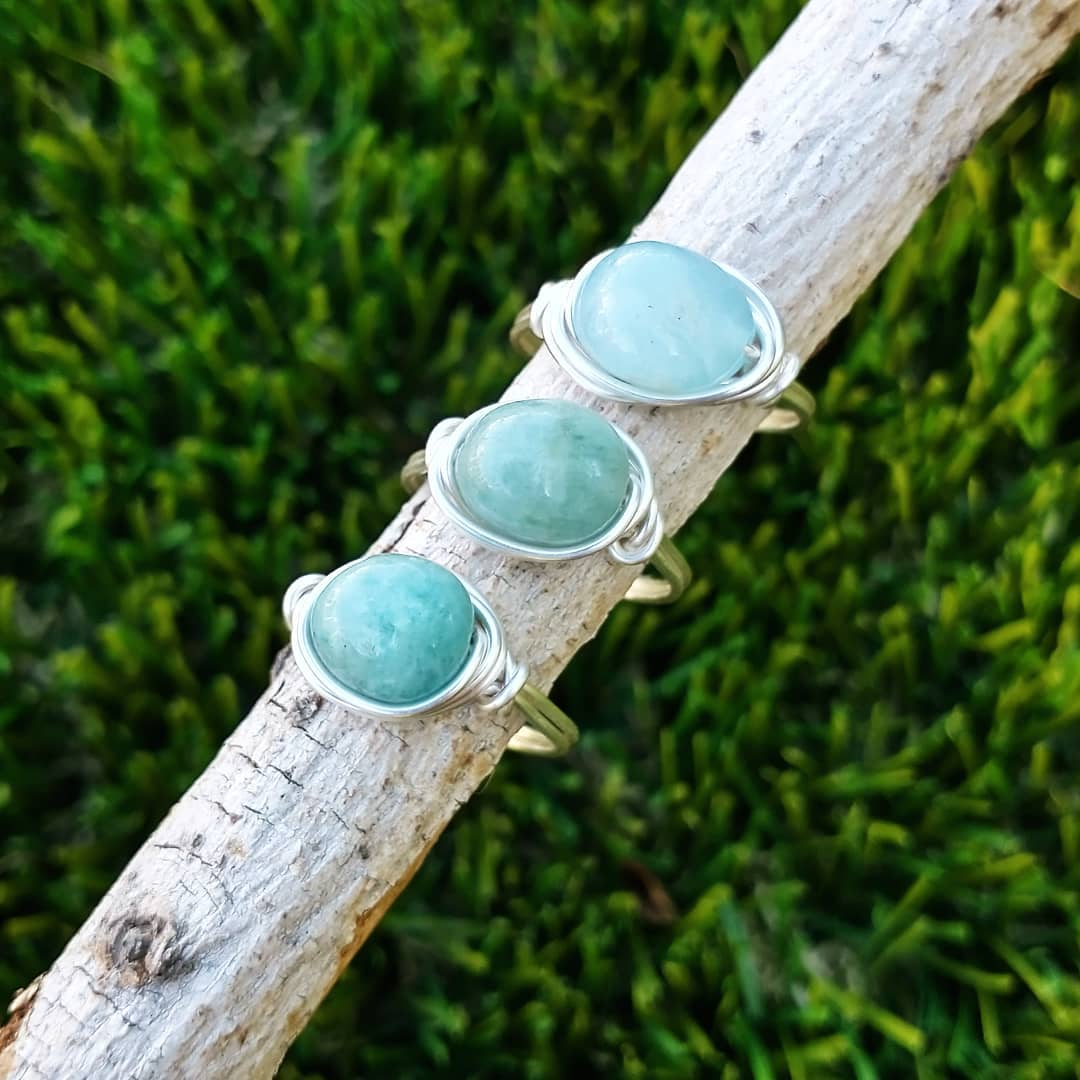 Aquamarine Wire-Wrapped Rings