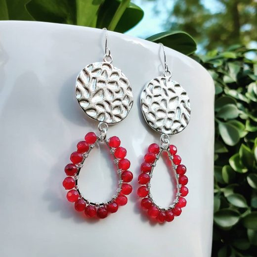 Faceted Fuchsia Agate Sterling Silver Earrings