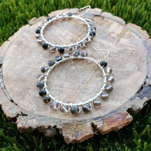 Ice Obsidian Sterling Silver Earrings