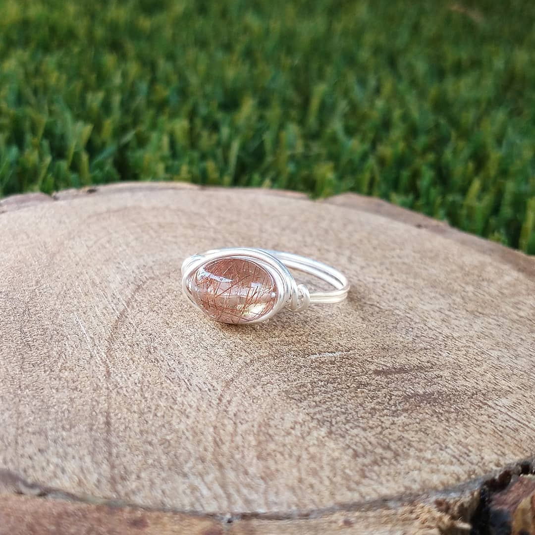 Rutilated Quartz Wire-Wrapped Rings - Middle